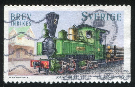 forcer: SWEDEN - CIRCA 2006: stamp printed by Sweden, shows Mallet steam locomotive, circa 2006 Editorial