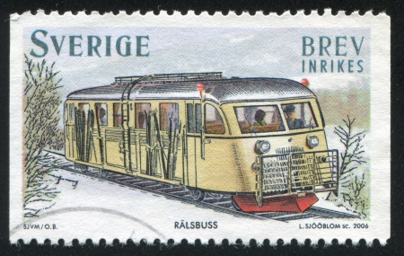 gasoline powered: SWEDEN - CIRCA 2006: stamp printed by Sweden, shows Gasoline powered rail bus, circa 2006