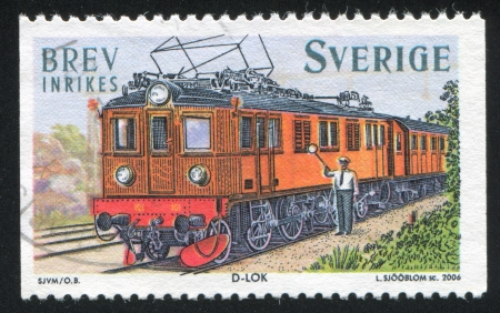traction engine: SWEDEN - CIRCA 2006: stamp printed by Sweden, shows electric locomotive, circa 2006