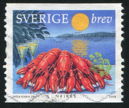 moonwalk: SWEDEN - CIRCA 2008: stamp printed by Sweden, shows Food served outdoors, circa 2008