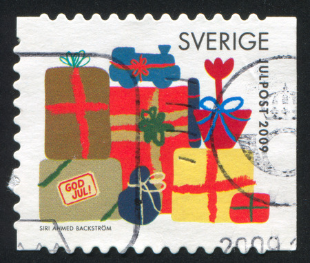 SWEDEN - CIRCA 2009: stamp printed by Sweden, shows Christmas presents, circa 2009