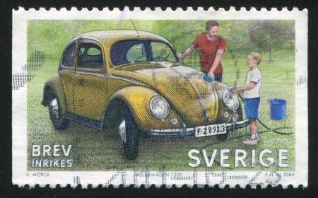 SWEDEN - CIRCA 2009: stamp printed by Sweden, shows Volkswagen Beatle, circa 2009