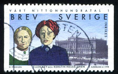 pioneers: SWEDEN - CIRCA 1998: stamp printed by Sweden, shows Ellen Key, Kerstin Hesselgren, pioneers for women rights, circa 1998