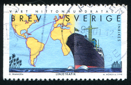 SWEDEN - CIRCA 1998: stamp printed by Sweden, shows Johnson (shipping) Line, circa 1998