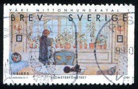 carl: SWEDEN - CIRCA 1998: stamp printed by Sweden, shows Flowers on the Window Sill by Carl Larsson, circa 1998 Editorial