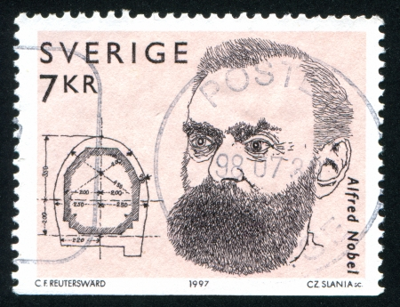 nobel: SWEDEN - CIRCA 1997: stamp printed by Sweden, shows Alfred Nobel, circa 1997