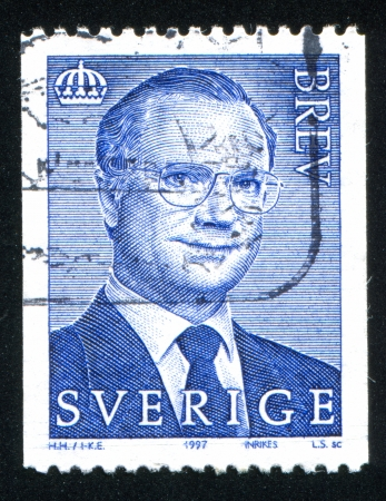 SWEDEN - CIRCA 1997: stamp printed by Sweden, shows King Carl XVI Gustaf, circa 1997