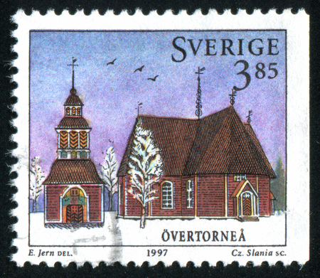 christanity: SWEDEN - CIRCA 1997: stamp printed by Sweden, shows Overtornea Chruch, circa 1997