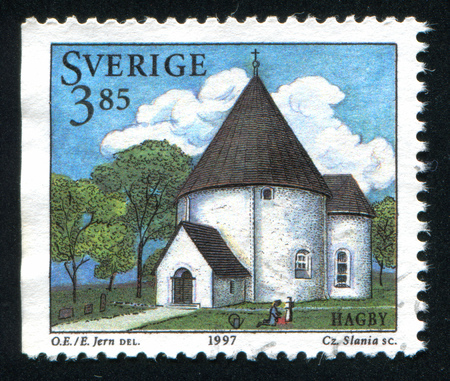 christanity: SWEDEN - CIRCA 1997: stamp printed by Sweden, shows Hagby Church, circa 1997