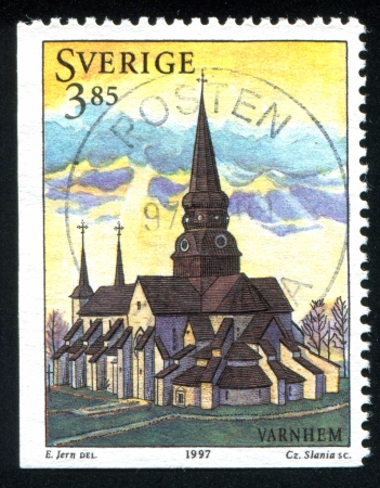 christanity: SWEDEN - CIRCA 1997: stamp printed by Sweden, shows Varnhem Church, circa 1997