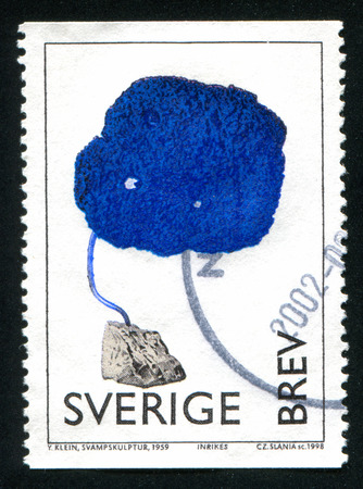SWEDEN - CIRCA 1998: stamp printed by Sweden, shows Fungus Sculpture, by Yves Klein, circa 1998