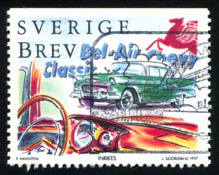 bel air: SWEDEN - CIRCA 1997: stamp printed by Sweden, shows Chevrolet Bel Air, circa 1997