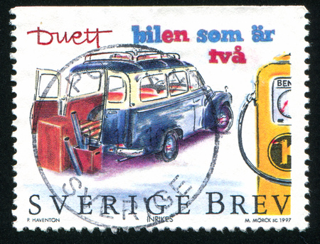 SWEDEN - CIRCA 1997: stamp printed by Sweden, shows Volvo Duett, circa 1997 Stock Photo - 25219200