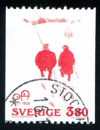 SWEDEN - CIRCA 1977: stamp printed by Sweden, shows Politeness by Oskar Andersson, circa 1977 Editorial