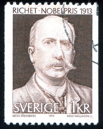 physiologist: SWEDEN - CIRCA 1973: stamp printed by Sweden, shows Charles Robert Richet, circa 1973