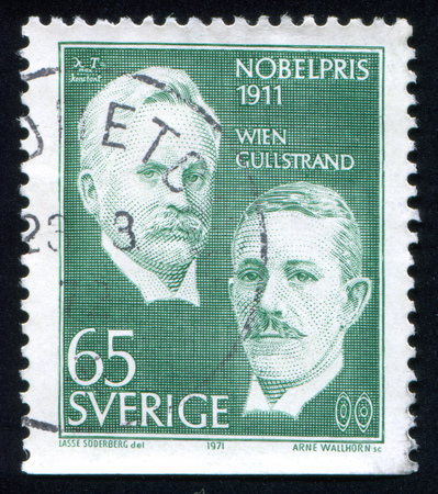 SWEDEN - CIRCA 1971: stamp printed by Sweden, shows Wilhelm Wien and Alvar Gullstrand, circa 1971
