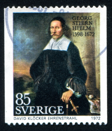 SWEDEN - CIRCA 1972: stamp printed by Sweden, shows Georg Stiernhielm by David Ehrenstrahl, circa 1972