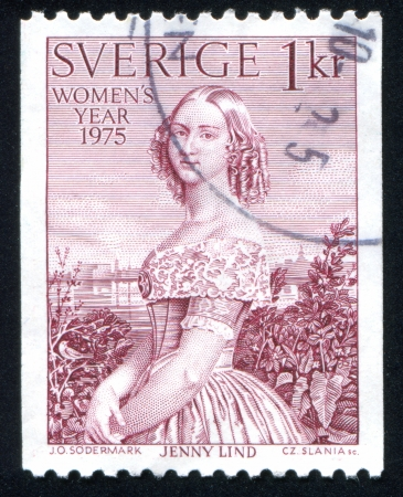 jenny: SWEDEN - CIRCA 1975: stamp printed by Sweden, shows Jenny Lind by Olof Johan Sodermark, circa 1975