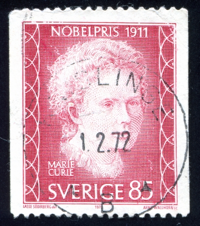 SWEDEN - CIRCA 1971: stamp printed by Sweden, shows Marie Sklodovska Curie, circa 1971 Editorial