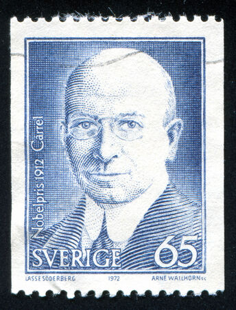 physiologist: SWEDEN - CIRCA 1972: stamp printed by Sweden, shows Alexis Carrel, circa 1972