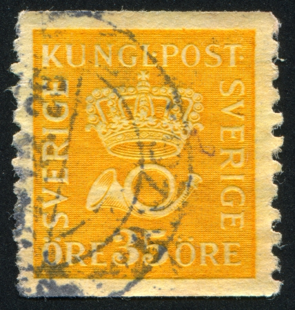 SWEDEN - CIRCA 1921: stamp printed by Sweden, shows Crown and post horn, circa 1921 Editorial
