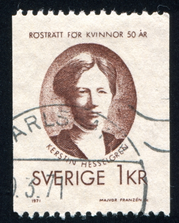 parliamentarian: SWEDEN - CIRCA 1971: stamp printed by Sweden, shows Kerstin Hesselgren, circa 1971 Editorial