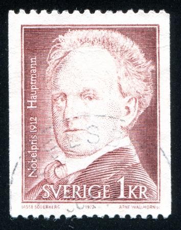 dramatist: SWEDEN - CIRCA 1972: stamp printed by Sweden, shows Gerhart Hauptmann, circa 1972