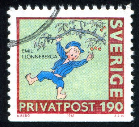 SWEDEN - CIRCA 1987: stamp printed by Sweden, shows Emil from Lennebergi, circa 1987