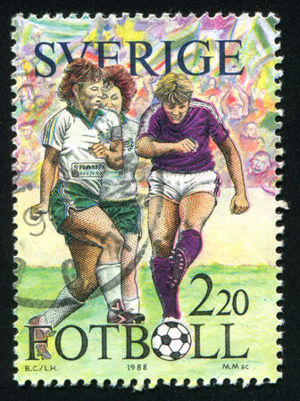 gaiters: SWEDEN - CIRCA 1988: stamp printed by Sweden, shows Football, circa 1988