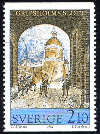 SWEDEN - CIRCA 1987: stamp printed by Sweden, shows Gripsholm castle outer courtyard by Carl Johan Billmark, circa 1987