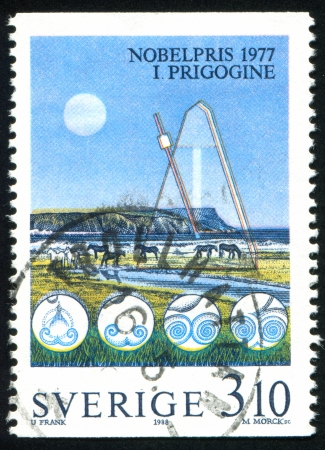 SWEDEN - CIRCA 1988: stamp printed by Sweden, shows Metronome and horses, circa 1988 Stock Photo - 25324003