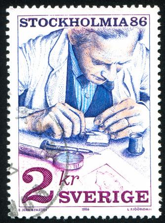 engraver: SVEZIA - CIRCA 1986: timbro stampato dalla Svezia, mostra di francobolli incisore, circa 1986