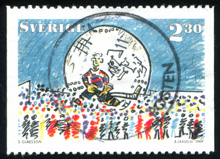 SWEDEN - CIRCA 1989: stamp printed by Sweden, shows Ice hockey, circa 1989