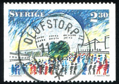 SWEDEN - CIRCA 1989: stamp printed by Sweden, shows Globe Arena, Stockholm, circa 1989
