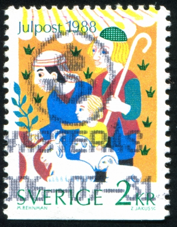 SWEDEN - CIRCA 1988: stamp printed by Sweden, shows Shepherds with palm offering, circa 1988