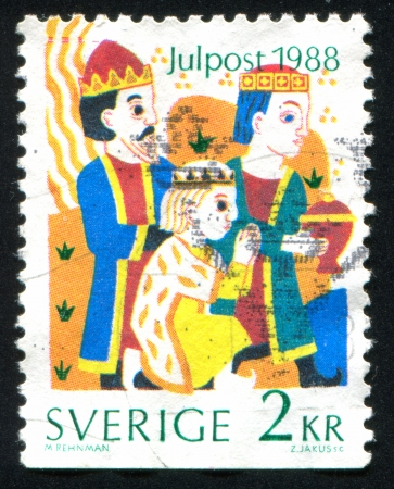 SWEDEN - CIRCA 1988: stamp printed by Sweden, shows Magi offering gifts, circa 1988