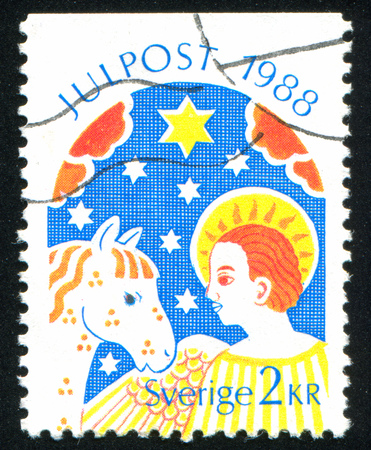 SWEDEN - CIRCA 1988: stamp printed by Sweden, shows Star of Bethlehem, angel, horse, circa 1988