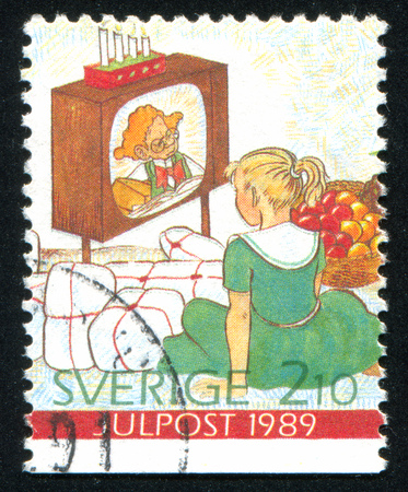 SWEDEN - CIRCA 1989: stamp printed by Sweden, shows Gifts, television, girl, circa 1989