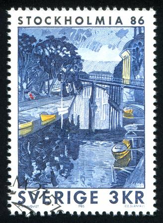 SWEDEN - CIRCA 1985: stamp printed by Sweden, shows A Summer Night by the Riddarholmen, by Hilding Linnqvist, circa 1985