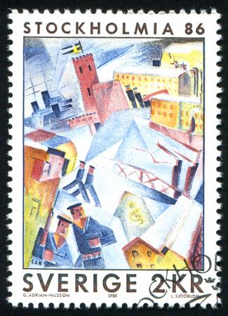SWEDEN - CIRCA 1985: stamp printed by Sweden, shows Skeppsholmen, Winter, by Gosta Adrian-Nilsson, circa 1985