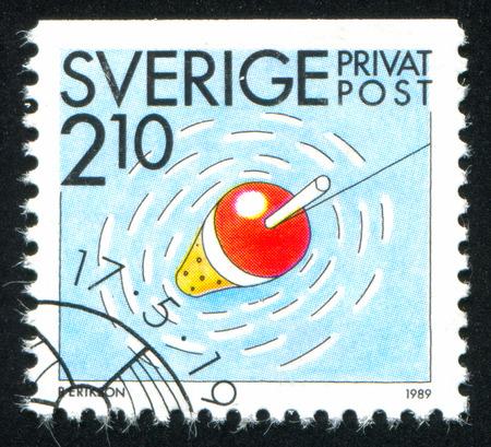 SWEDEN - CIRCA 1989: stamp printed by Sweden, shows Angling, circa 1989