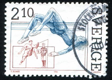 patrik: SWEDEN - CIRCA 1986: stamp printed by Sweden, shows Standing high jumper and Patrik Sjoberg, high jump, circa 1986 Editorial