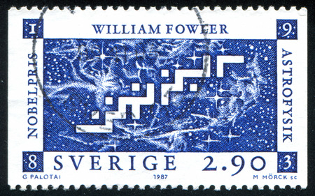 laureate: SWEDEN - CIRCA 1987: stamp printed by Sweden, shows William Fowler, US, circa 1987