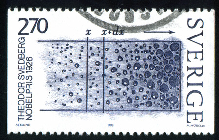 theodor: SWEDEN - CIRCA 1983: stamp printed by Sweden, shows Theodor Svedberg, Colloid Studies, circa 1983