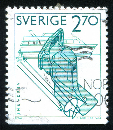 SWEDEN - CIRCA 1984: stamp printed by Sweden, shows Inboard-outboard motor, circa 1984