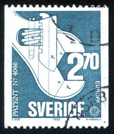 crescent wrench: SWEDEN - CIRCA 1983: stamp printed by Sweden, shows Sliding-jaw wrench, circa 1983