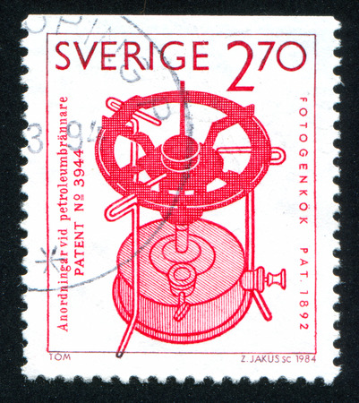 frans: SWEDEN - CIRCA 1984: stamp printed by Sweden, shows Paraffin stove, F.W. Lindqvist, circa 1984 Editorial