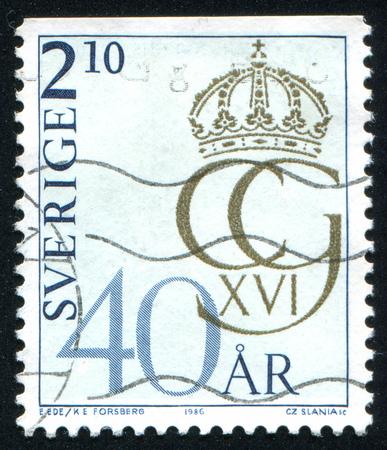 SWEDEN - CIRCA 1986: stamp printed by Sweden, shows Royal Cipher, circa 1986 Editorial
