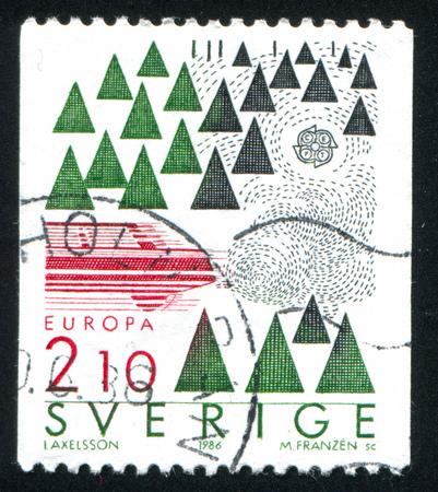 SWEDEN - CIRCA 1986: stamp printed by Sweden, shows Automotive pollutants, circa 1986
