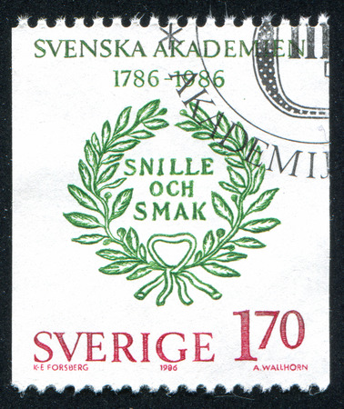 SWEDEN - CIRCA 1986: stamp printed by Sweden, shows Motto of the Swedish Academy, circa 1986